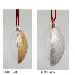 Addobbo natalizio Pallina trasparente-glitter piatta