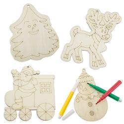 Addobbo natalizio in legno da colorare con pastelli inclusi