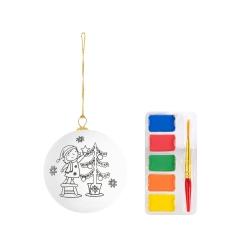 Addobbo natalizio pallina bianca da colorare con pennellino incluso
